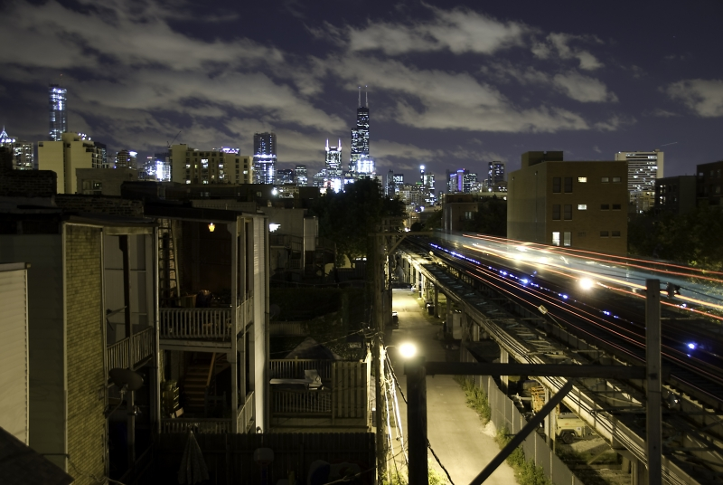 Chicago El From Old Town Rooftop