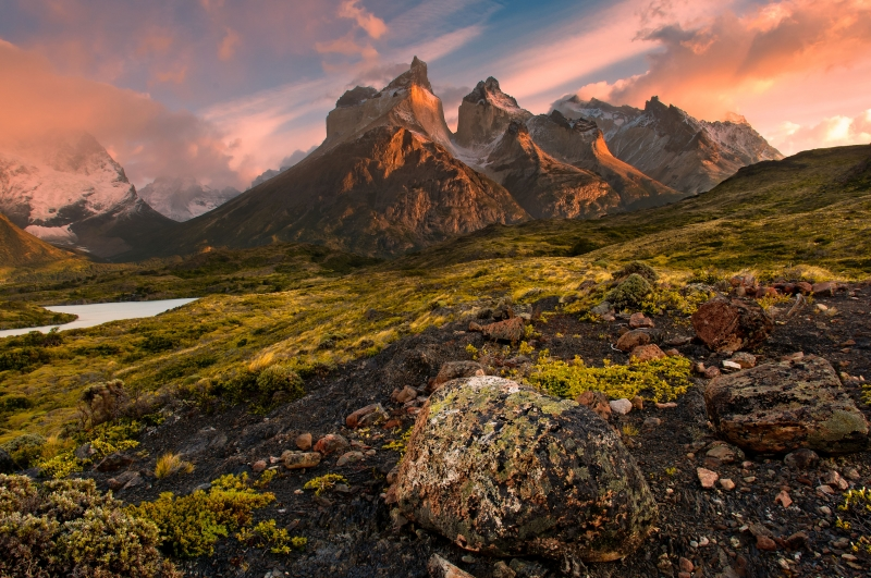 Sunrise Over Torres Del Paine Massif