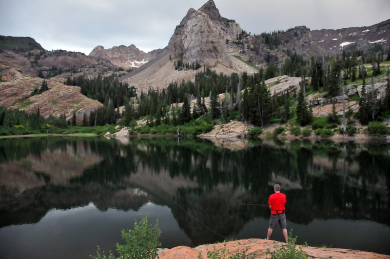 Brother Fishing In Lake Blanche