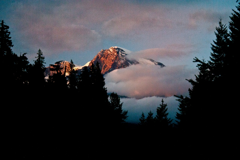 Mt Rainer National Park At Dusk