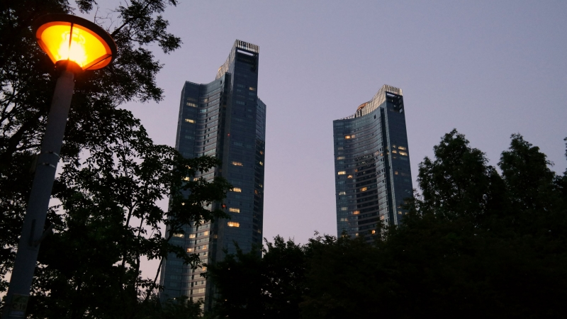 Twin Buildings At Dusk
