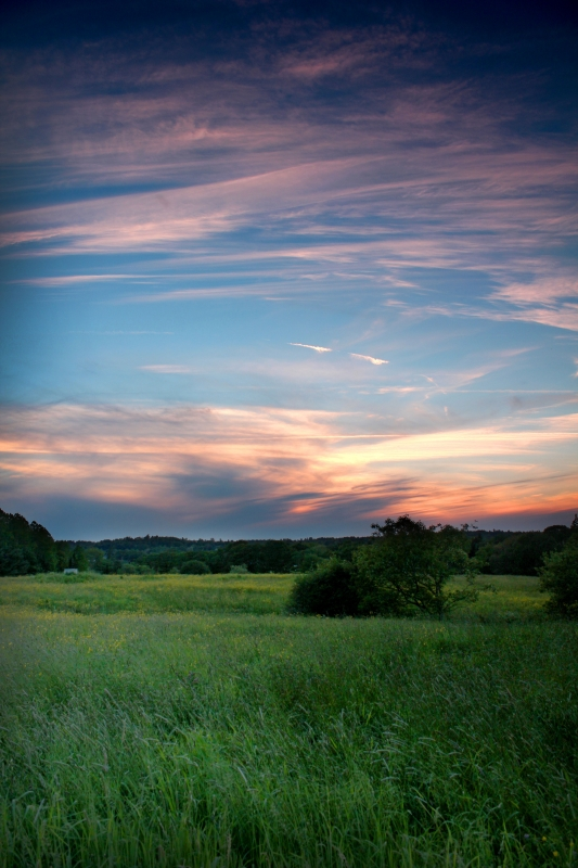 Evening Sky Over A Hay Field In Maine