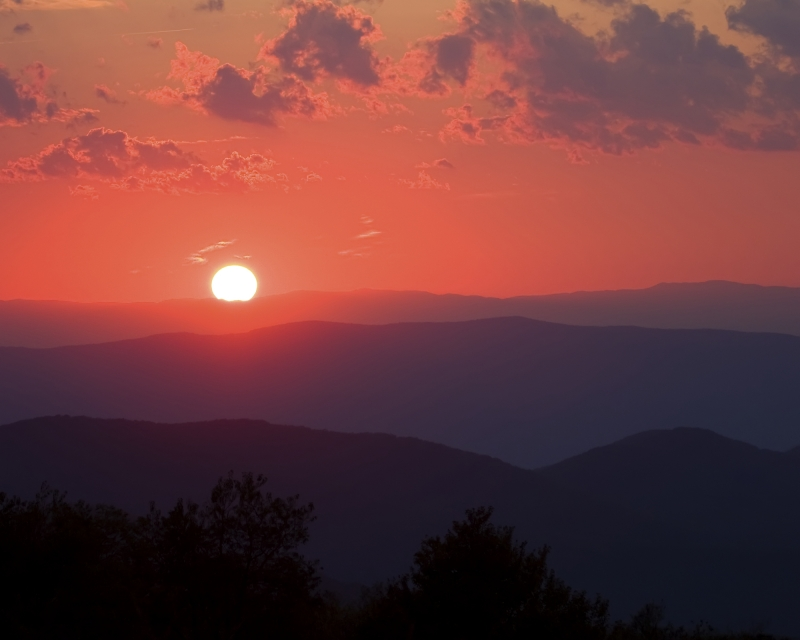 Sunset Overlooking The Blue Ridge Mountains From Big Meadows In Shenandoah National Park