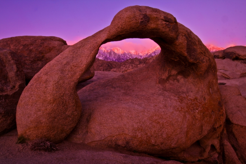 Sunrise On Mobius Arch And Mt. Whitney
