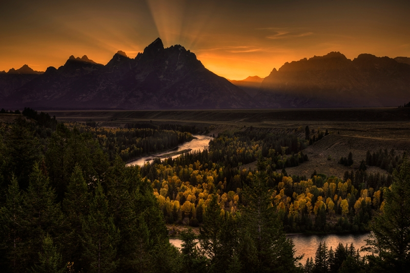 God Rays At Sunset, Snake River, Grand Teton National Park