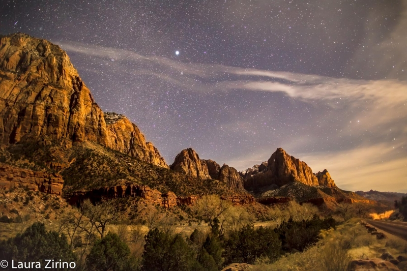 Zion Cliffs At Night