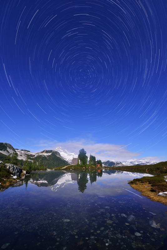 Star Trails At Elfin Lake