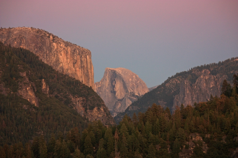 El Capitan & Half Dome At Sunset