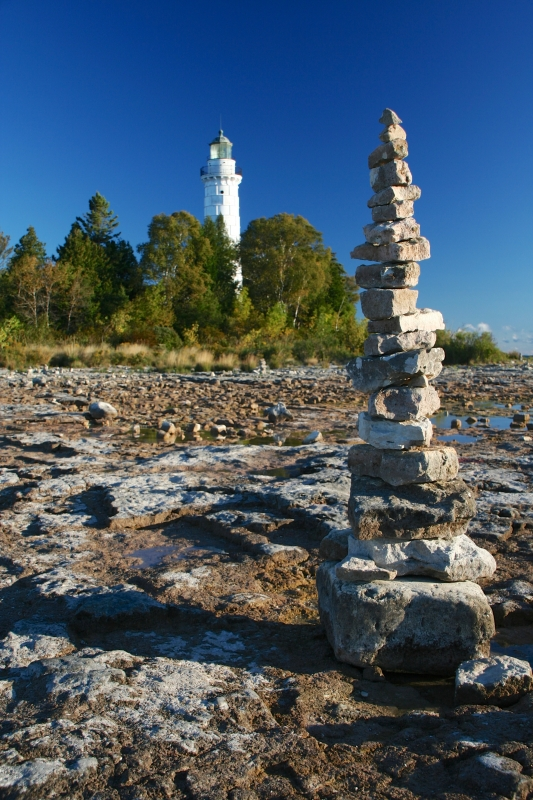 Cairn And Cana Island Lighthouse, Door County Wisconsin