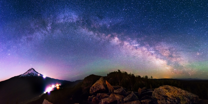 Mount Hood And The Galaxy Above