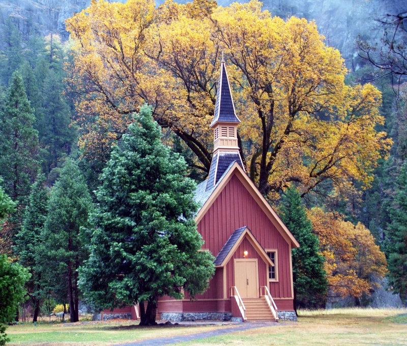 Yosemite Chapel In Fall