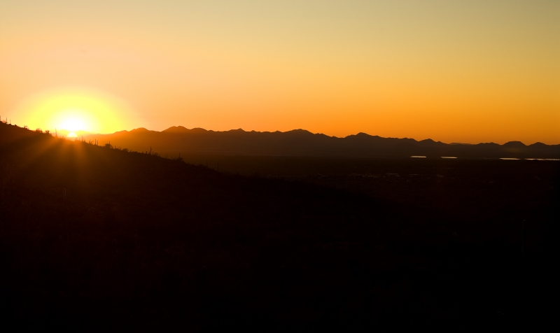 Sun Sets On The Sonora Desert
