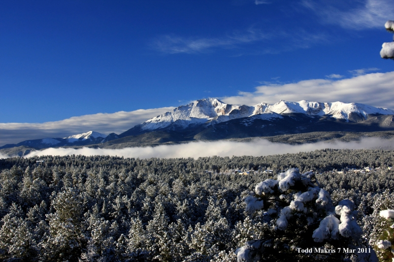 Pikes Peak Over The Fog In Woodland Park