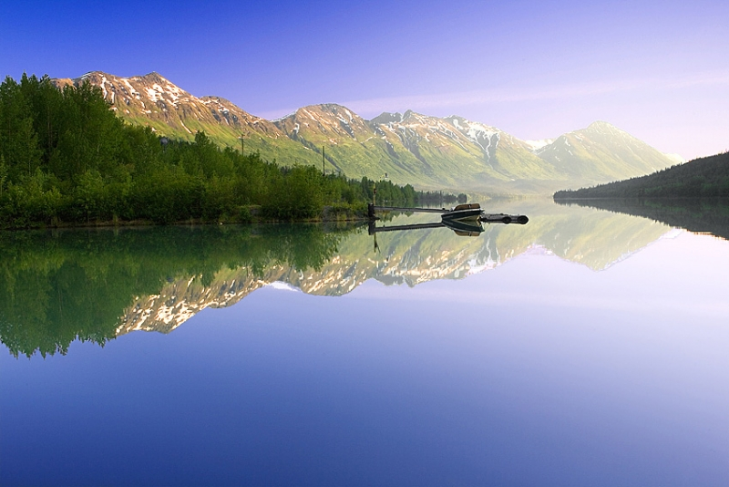 Morning Lake  Reflection In Chugach National Forest