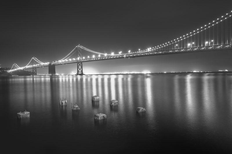 Bay Bridge At Mighnight