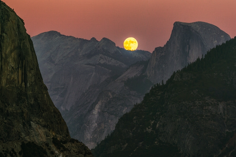 Half Dome Full Moon