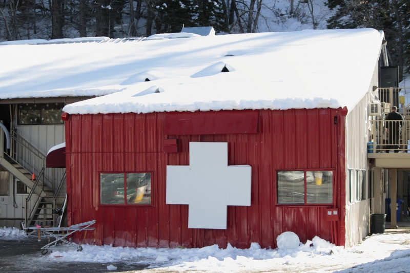 Red Emergency House In Snow