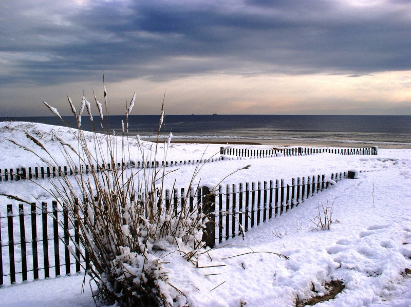 Snow On The Beach Of Atlantic Ocean