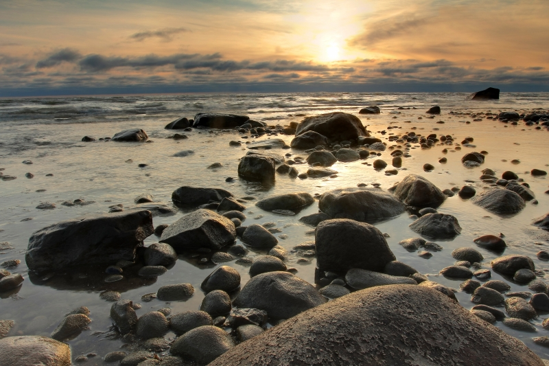 Sunrise Along The Rocky Shoreline Of Lake Huron