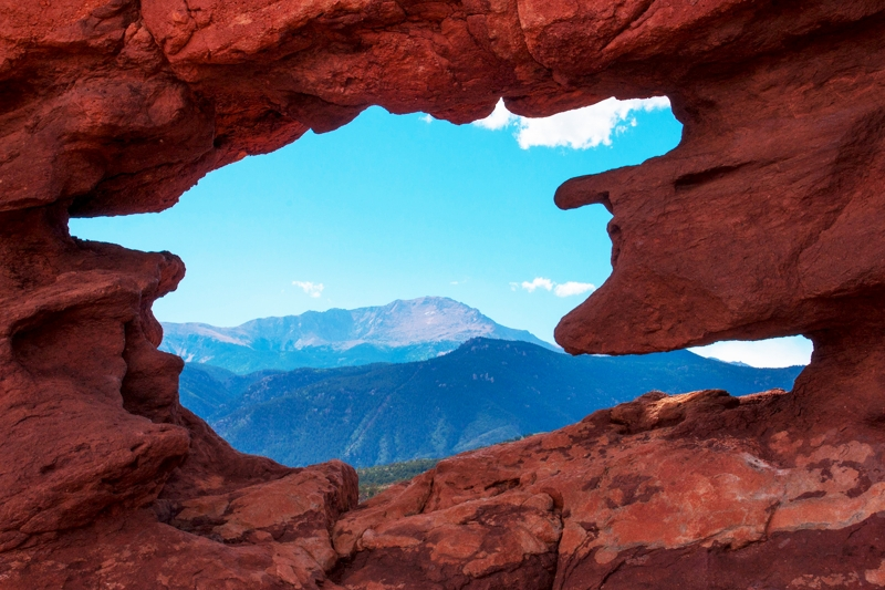 Pikes Peak Framed By Garden Of The Gods