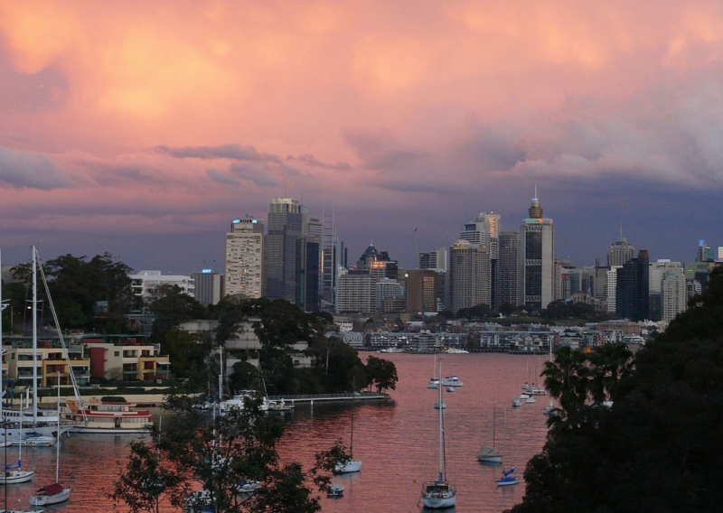A View Of Sydney From Waverton Park On The North Side Of The Harbor