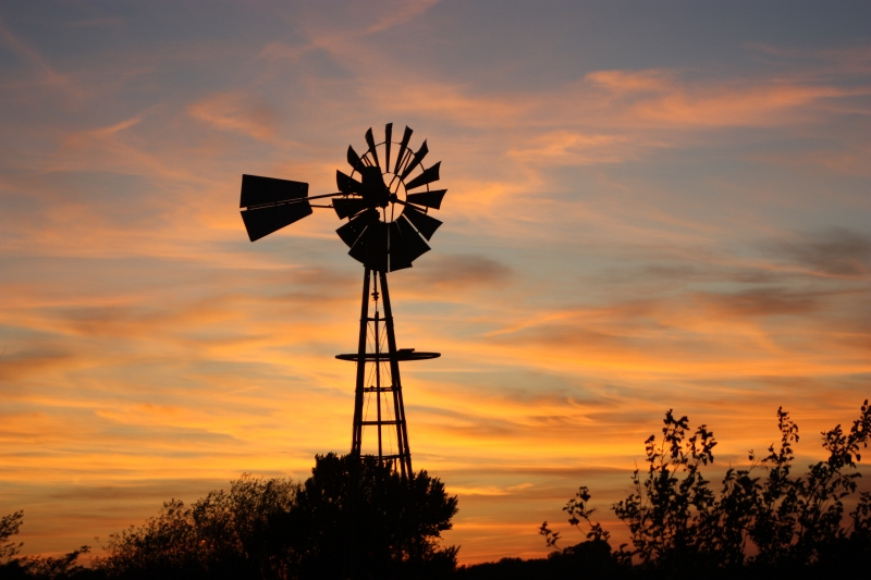 Golden Silhouette Windmill Sunset