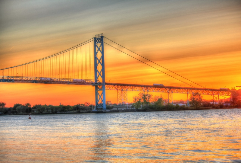 Ambassador Bridge Over River Detroit