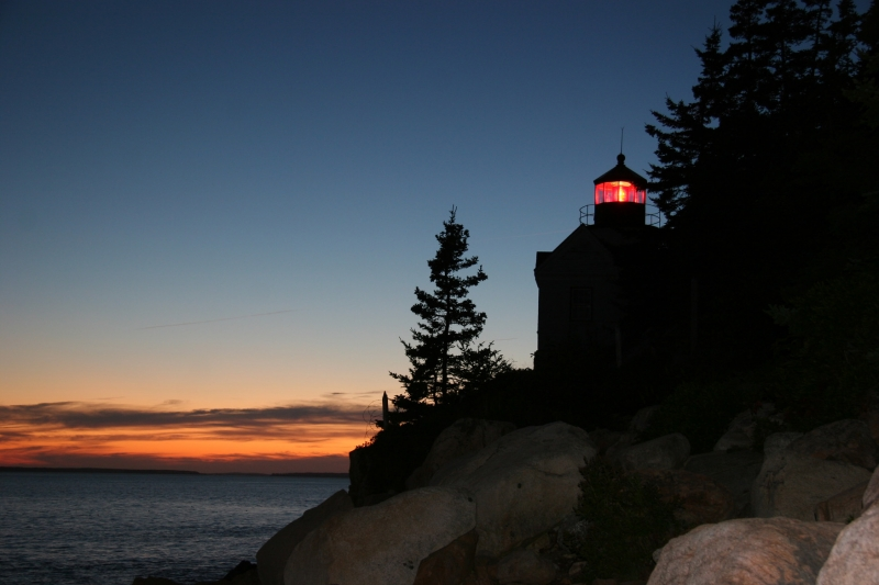 Acadia Lighthouse At Sunset