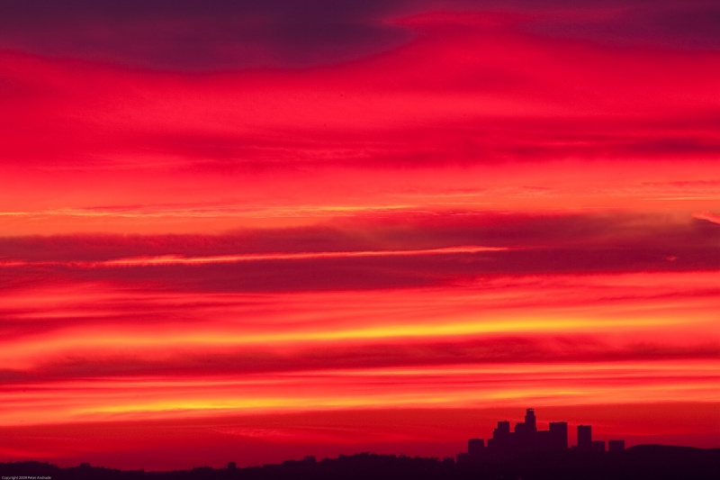 Red Sunset Above Los Angeles