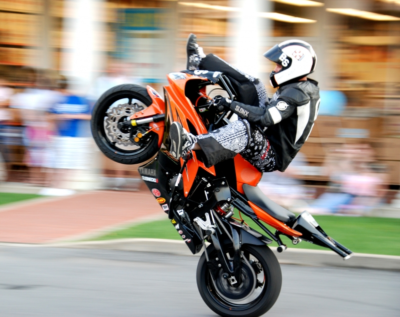 Stunt Man On Rear Tire