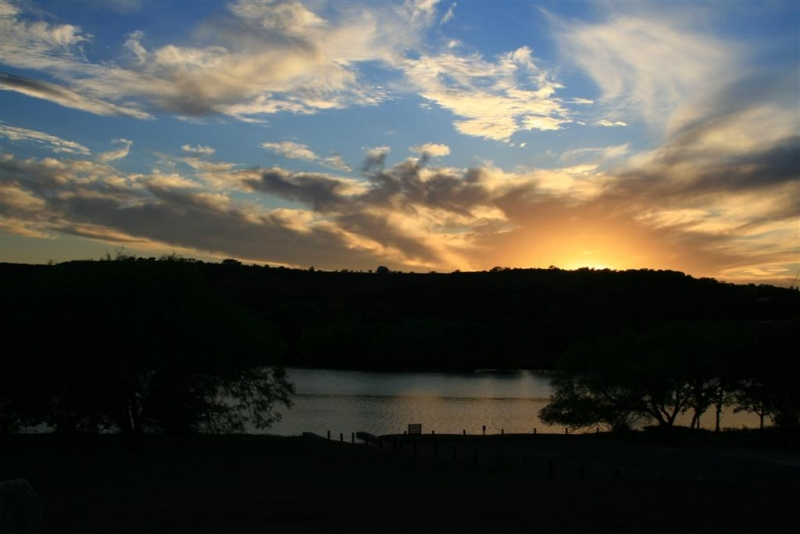 Sunset Over The Guadalupe River In Kerrville Tx.