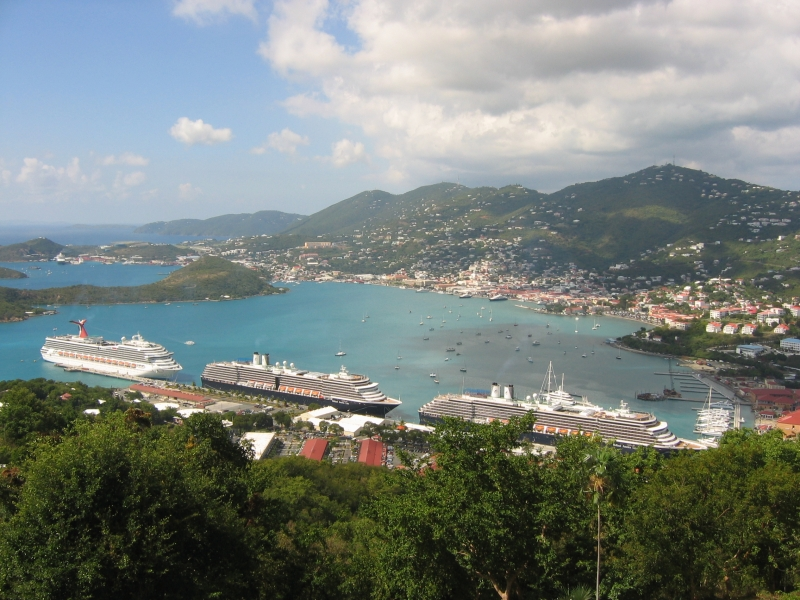 Cruise Ships Harbor In St. Thomas