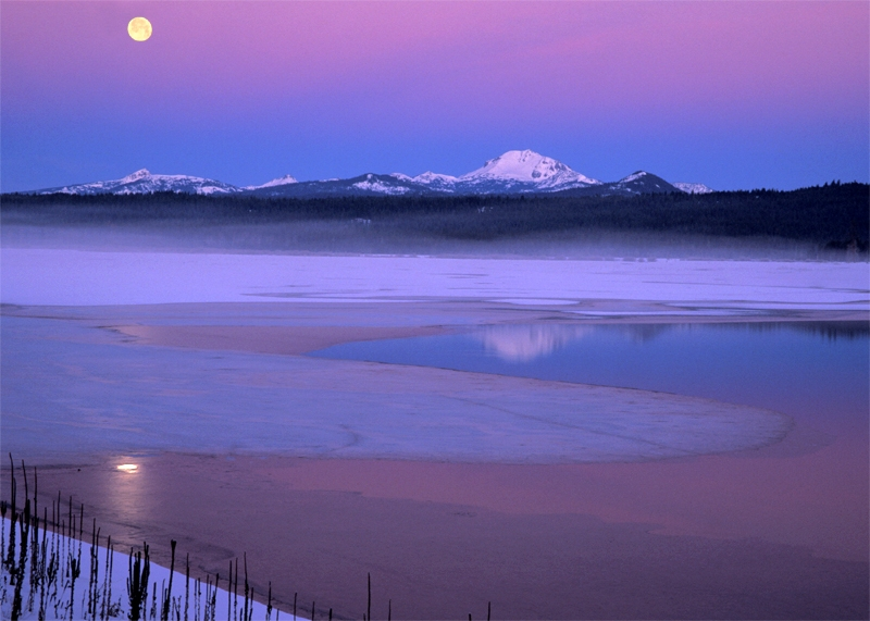Moonset Over Mt Lassen