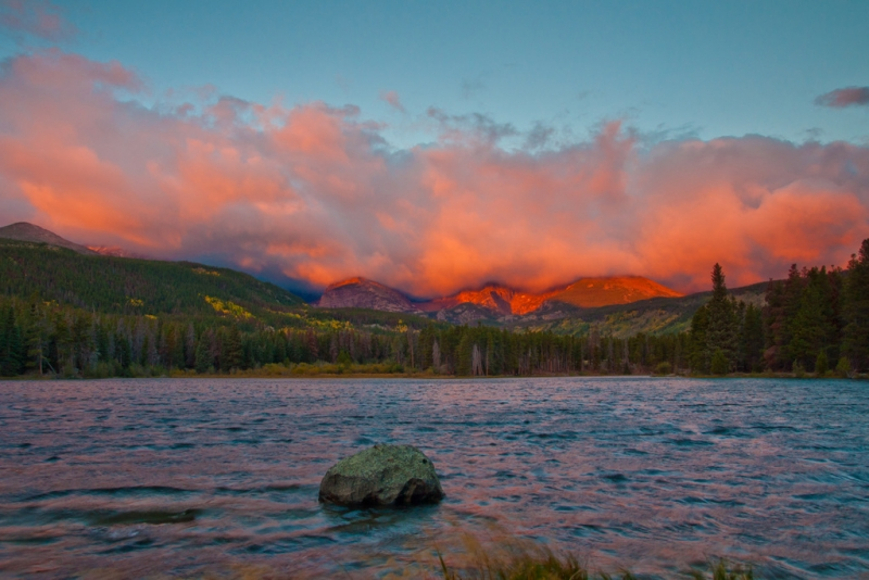Stormy Sunrise Over The Rocky Moutains