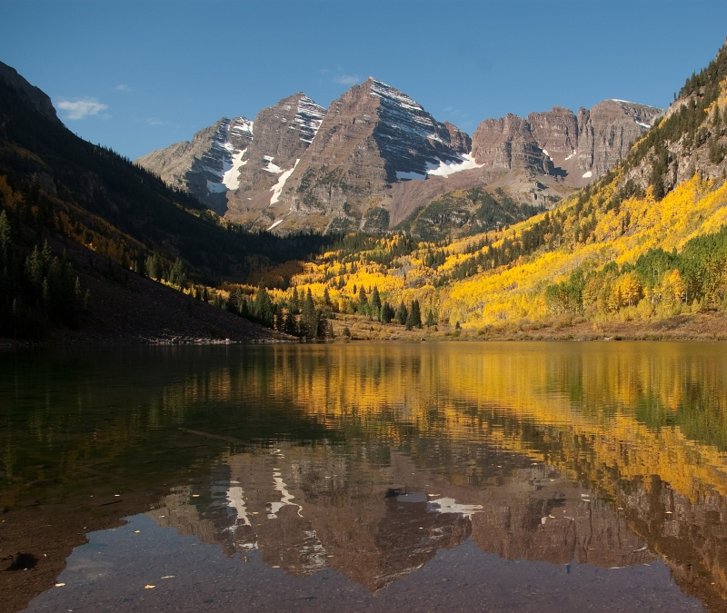 Maroon Bells Reflecting Fall Aspens