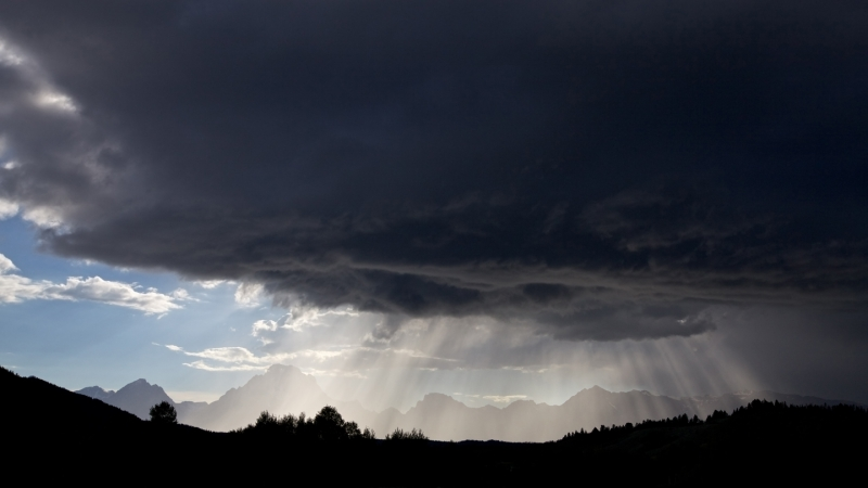 Thunderstorm, Light Beams, Grand Tetons