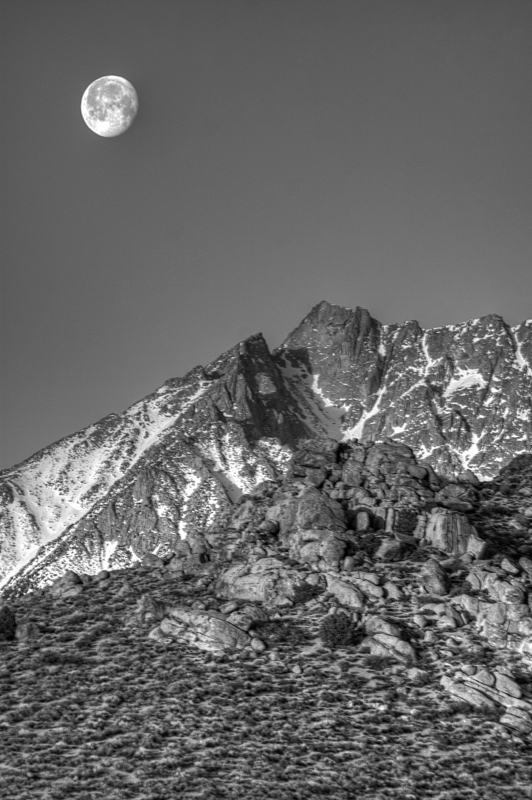 Moonset In B&w