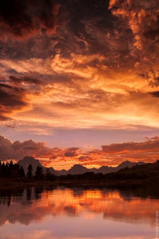 Sunset At Teton Mountain Range