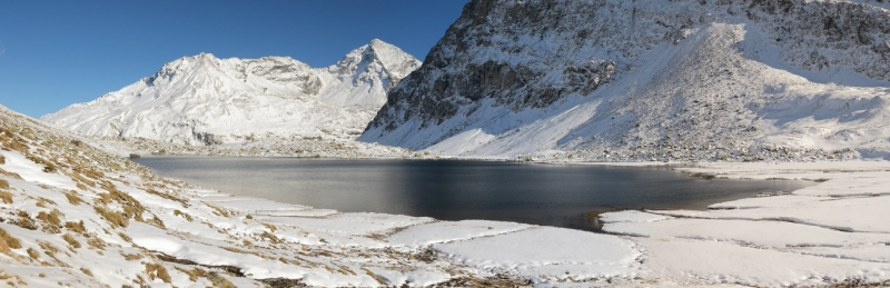 Lake Viola And Pizzo Di Dosdè,  First October Snow.
