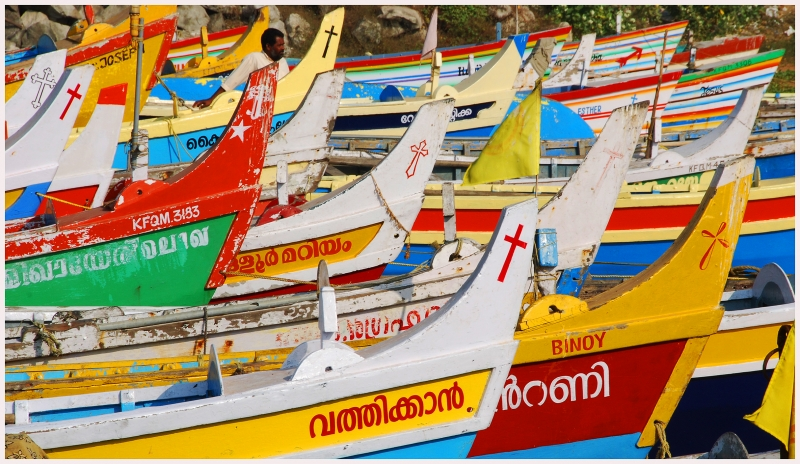 Colorful Fishing Boats Of Kollem, India