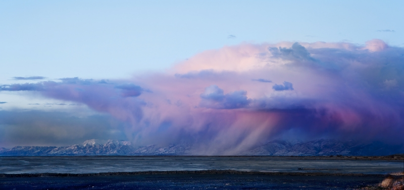 Storm Clouds Dropping Rain Over Great Salt Lake