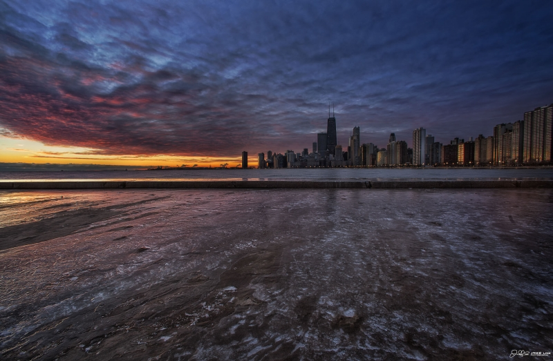 Icy Windy City Sunrise