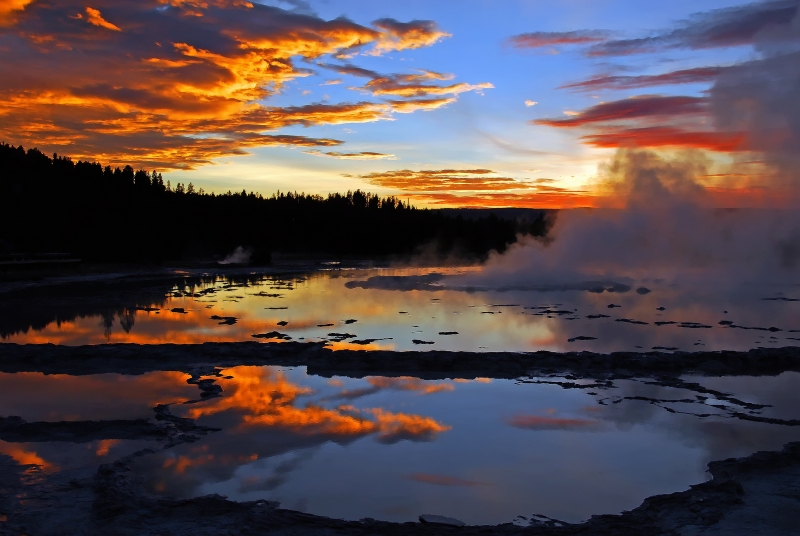 Sunset At Great Fountain Geyser In Yellowstone