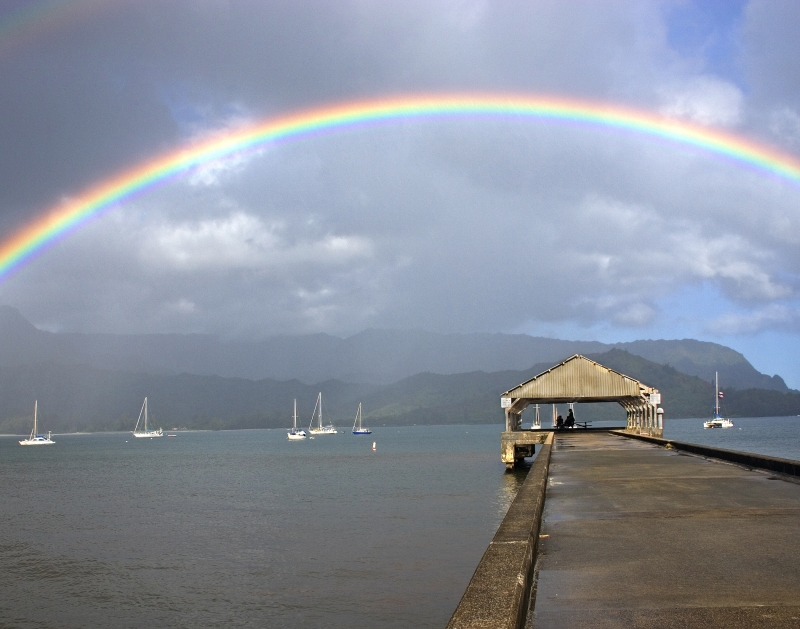Rainbow Over Hanalei Pier