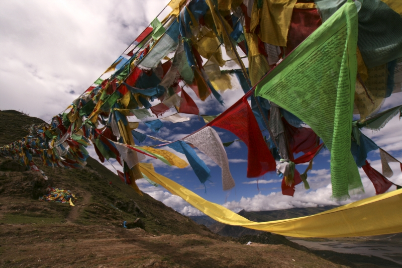 Prayer Flags At Ganden Monastery, Tibet