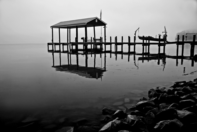 Boat House In Fog, Potomac River