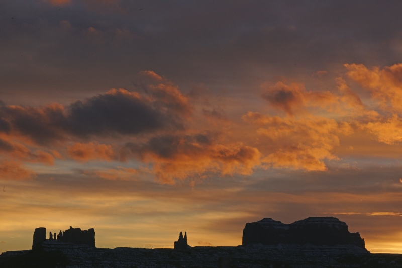 Monument Valley Snow And Sunset