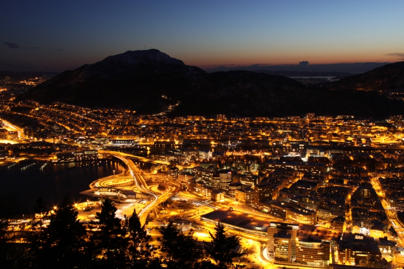 View Of Bergen At Night