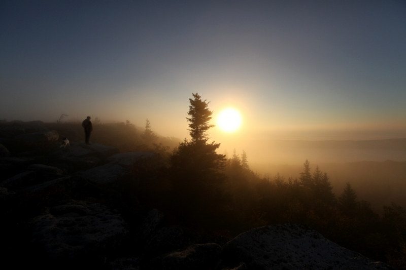 Man And His Dog, Bear Rock Preserve – September 2010 – Sunrise