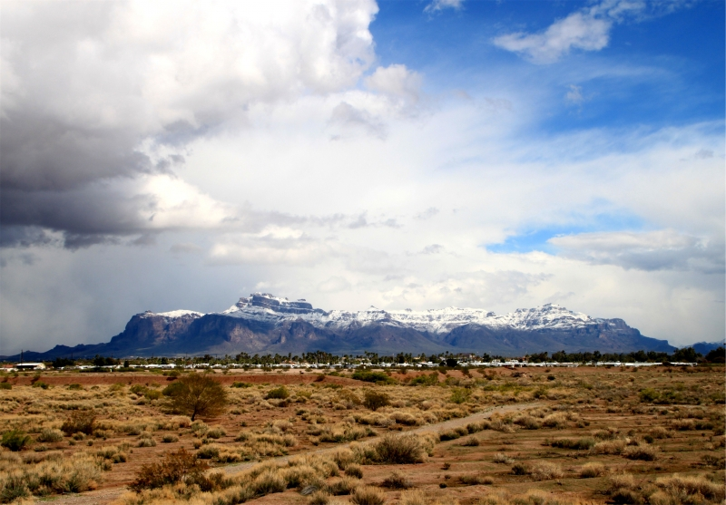Rare Snowfall– Superstition Mt  Apache Junction Az